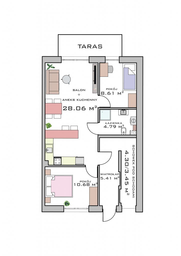 Mieszkanie na parterze - lust. odbicie