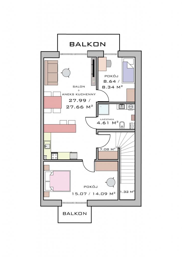 Mieszkanie na poddaszu - lust. odbicie